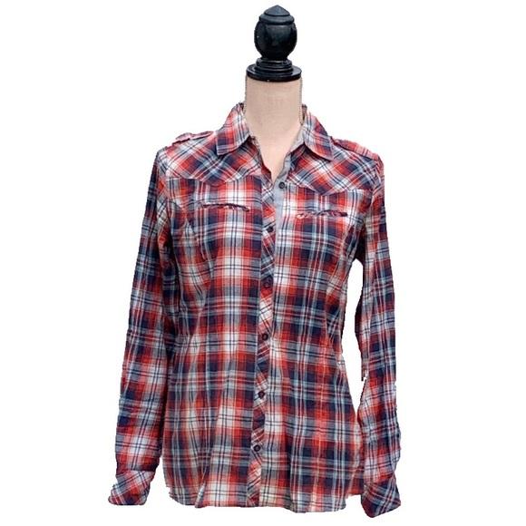 ☀️4/25 Denim&Co. Western-Style Plaid Shirt